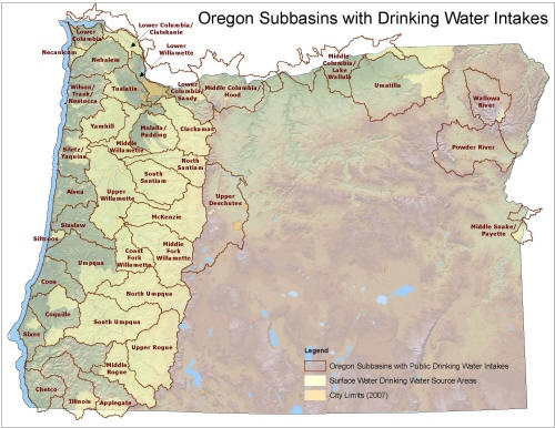 Map 1.  Oregon subbasins with drinking water intakes . Source:  Oregon Department of Environmental Quality .