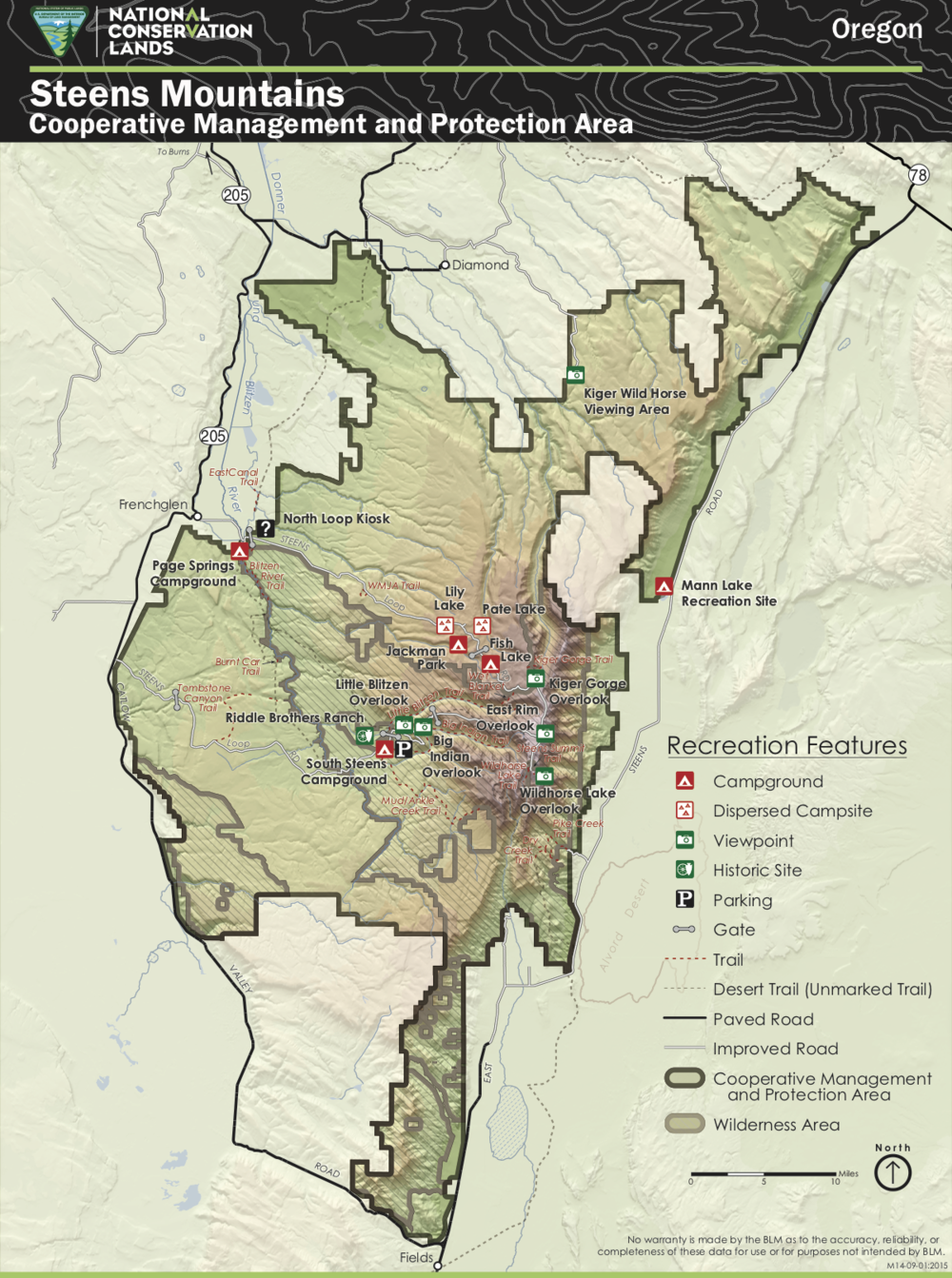 The Steens Mountain Cooperative Mangement and Protection Area. Not shown is a comparably sized area immediately to the east that was also withdrawn from mineral exploitation, which, among other threats eliminated, precludes geothermal power plants at Mickey, Alvord, Borax and other hot springs.  Source:  Bureau of Land Management