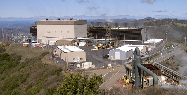 - One of 22 comparable geothermal power plants at the Geysers Complex in California. Source: Wikipedia