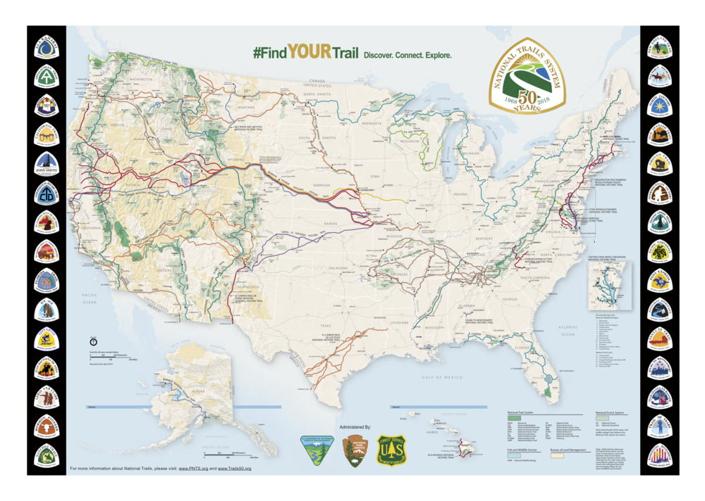 Map 1 . The latest and best map of the National Trails System  (doesn't include national recreational trails). Source:  National Park Service