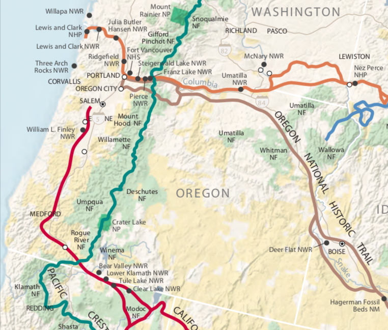 Map 2.  Parts of five national trails are found in Oregon: Pacific Crest (scenic), California (locally known as the Applegate Trail), Lewis and Clark, Nez Perce, and Oregon (all historic).  Source:  National Park Service .