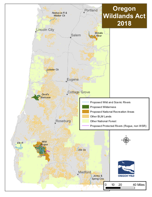 Map 1.  Details of the Oregon Wildlands Act as proposed by Wyden and Merkley in 2017. Missing from the Natural Resources Management Act as it is likely to pass the Senate are the two proposed national recreation areas and the proposed Wild Rogue Wilderness additions.  Source: Oregon Wild.