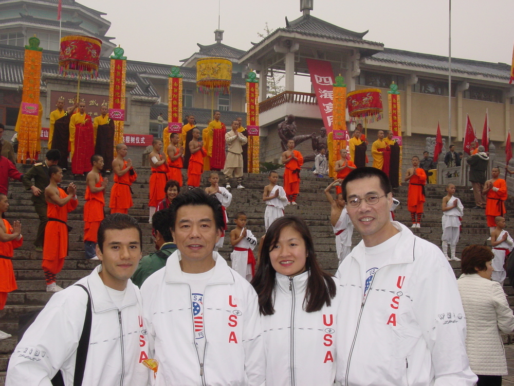 (Left to Right) Mynor Diaz, Sifu, Christina Law and Stephen Wing at CCMAA's first trip to China to compete.