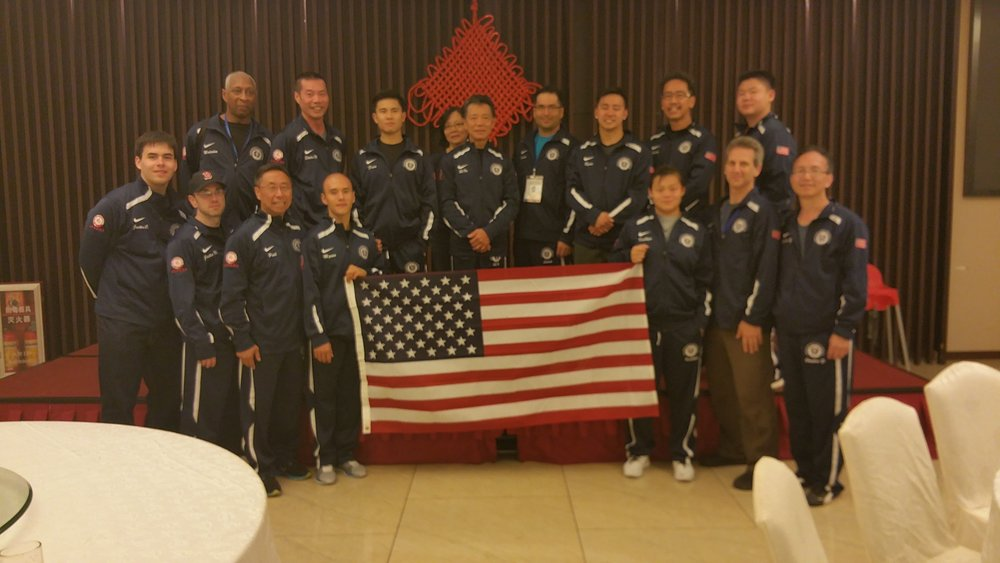 Representing Team USA and Calvin Chin's Martial Arts Academy in China at the first World Hung Kuen Association Wong Fei Hung Championships in 2014