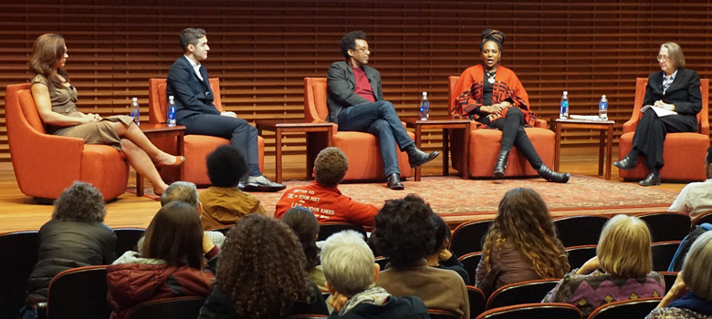 Aimee Allison, Raymond Braun, Rick Lowe, Bree Newsome and Rev. Jane Shaw speak at the Sally Dickson Annual Lecture on Diversity, Inclusion and Reflection at Stanford University, March 2016