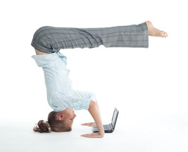 Woman browsing  in unusual pose