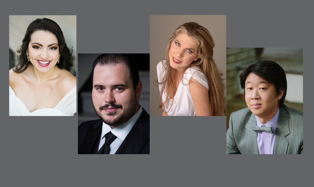GUEST SOLOISTS (FROM LEFT TO RIGHT): RAQUEL GONZALEZ, SOPRANO;        ERIC BARRY, TENOR; STACEY RISHOI, MEZZO-SOPRANO;WEI WU, BASS