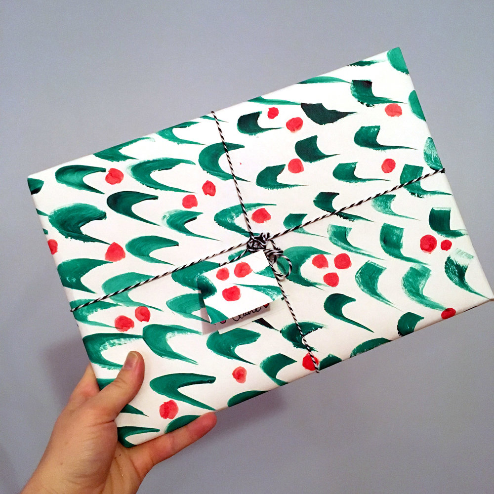 Hand-painted wrapping paper for holidays and birthdays. I will wrap your presents for you.