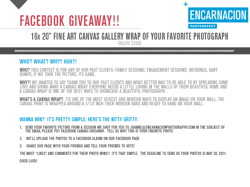 Encarnacion Photography Canvas Wrap Giveaway