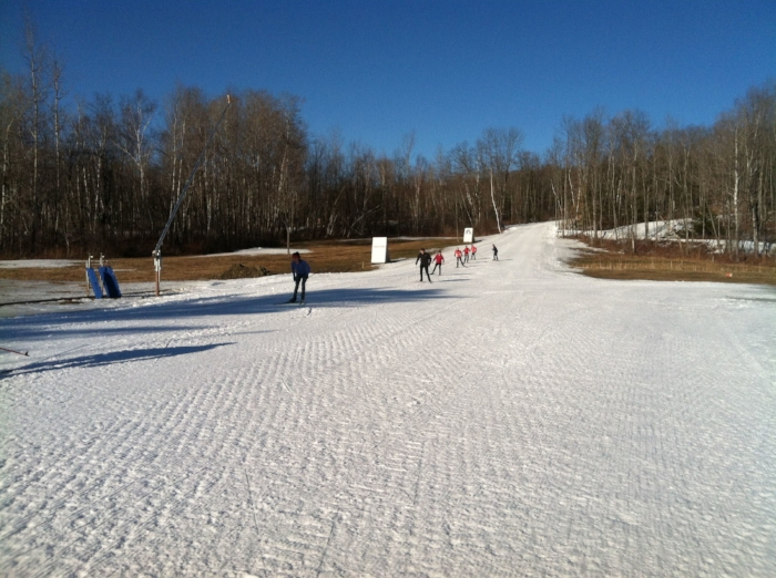Quarry Rec Area machine-made snow keeps skiers on the trails during meltdowns