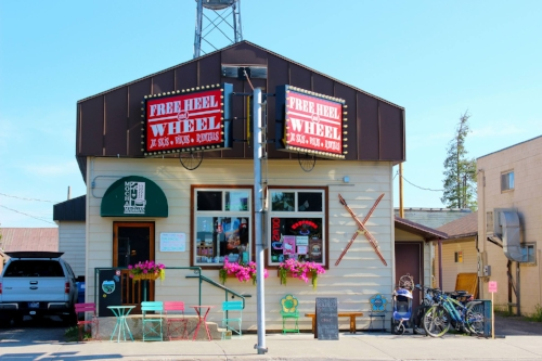 Freeheel and Wheel storefront in West Yellowstone, Montana