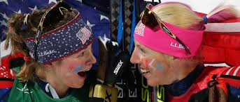 Jessie Diggins and Kikkan Randall after the Olympic Gold Medal was won in the Women's Cross Country Team Sprint Freestyle Race (Daily Caller)