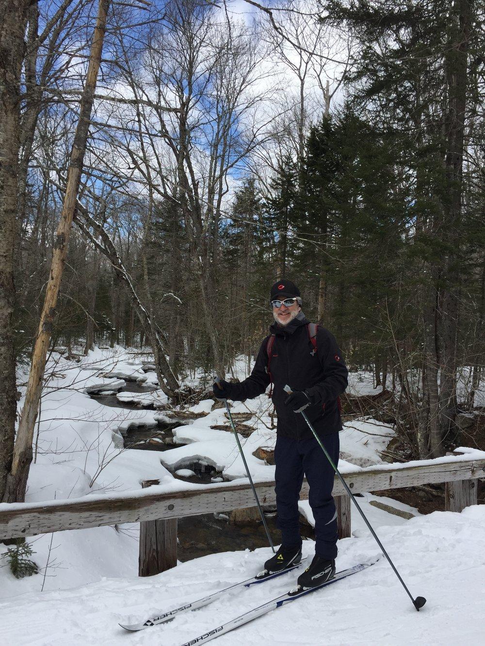 XCSkiResorts.com editor sporting the Fischer Twin Skin skis