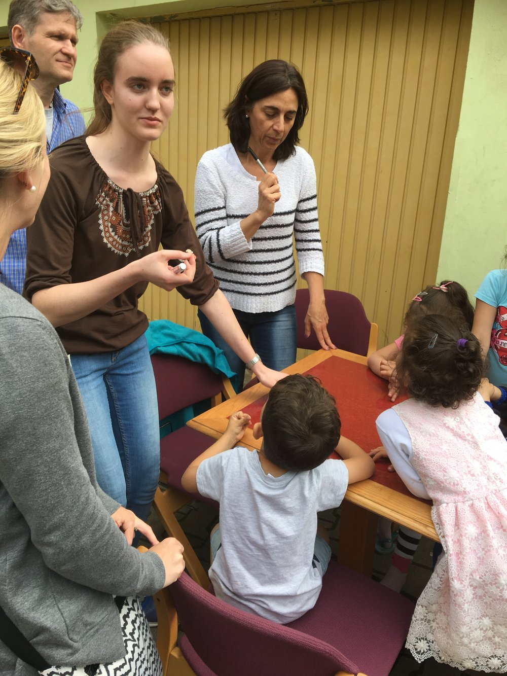 Visiting a refugee center that church members are working in