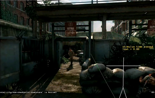 I was pleased to see that Naughty Dog also use this technique. In this Last of Us editor screen-grab, you can see their enemy marker (white) has been disconnected from the hiding character