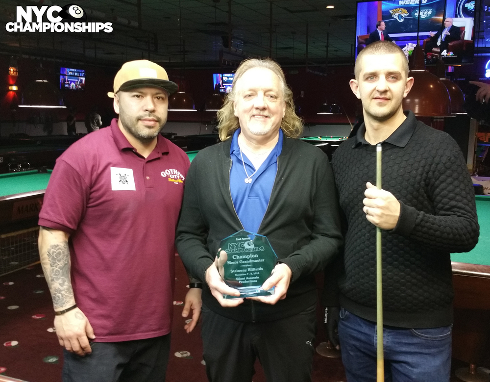 Grand Masters: Runner Up Jorge Rodriguez, Tournament Director John Leyman & Champion Jayson Shaw