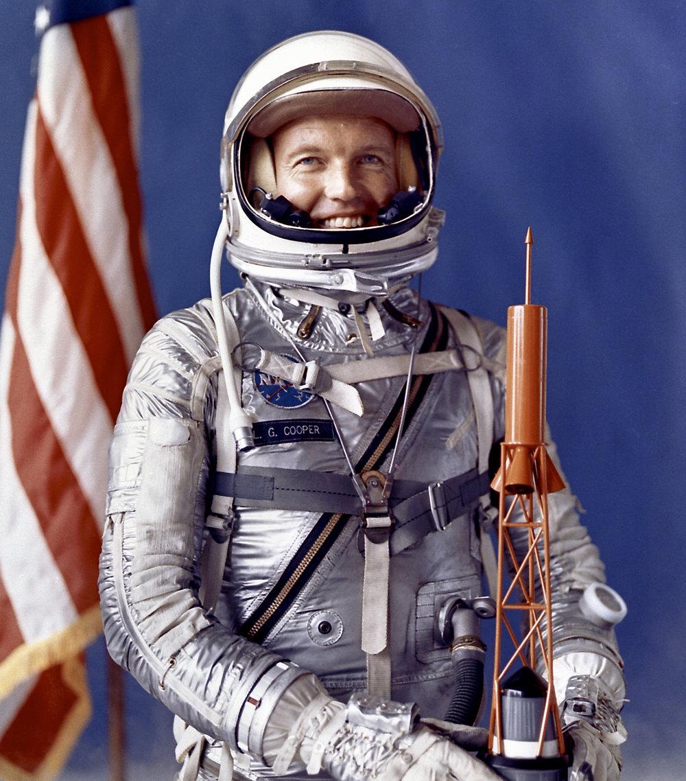 Astronaut Gordon Cooper in his Mercury Pressure Suit. Image Credit: NASA