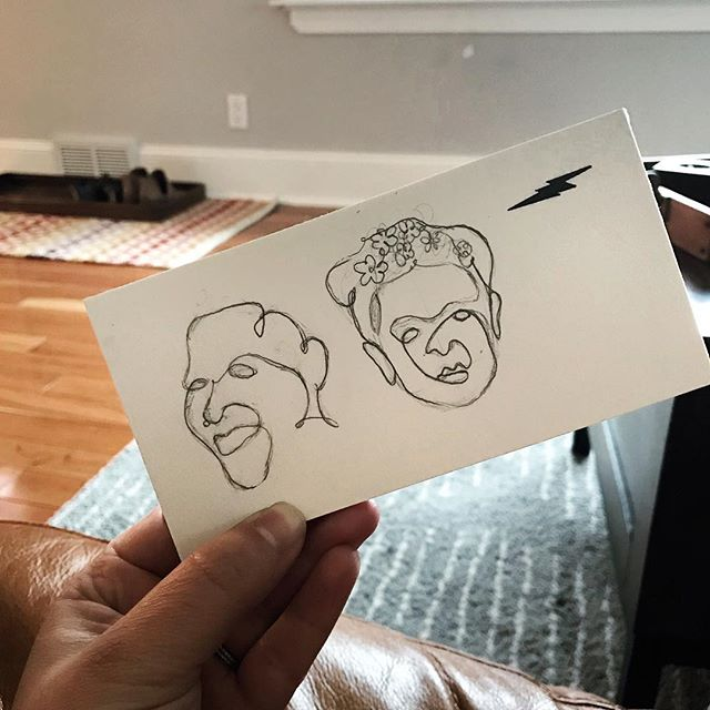 Quick line drawings on the couch on this sick day, I don't have energy for much else. Recognize these faces?