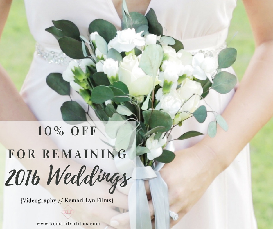 10% off for remaining 2016 wedding dates // florida wedding videographer