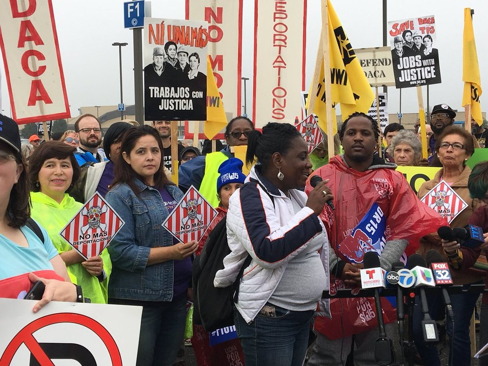 ATU 308's Deborah Lane speaking out against attacks on black and brown communities at the Gary-Chicago International Airport with Chicago Jobs with Justice on October 6, 2017.