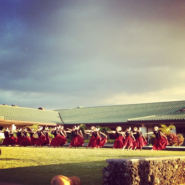 My daughter's younger hula sisters practicing for the Queen Lili'uokalani Keiki Hula Competition on Oahu.