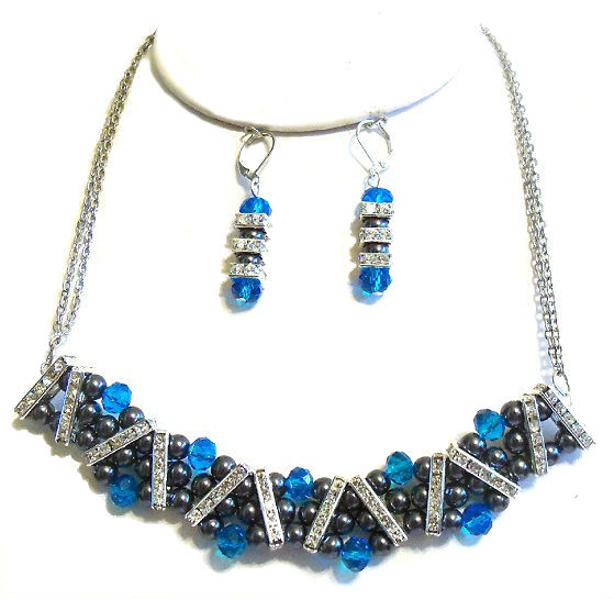 Aqua and Charcoal Necklace Set