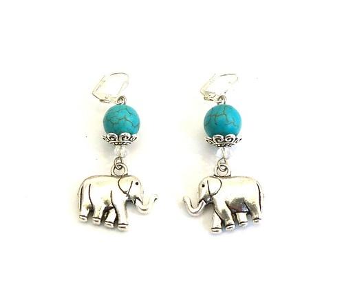 a26bd8c2c27ee Turquoise Lucky Elephant Handmade Earrings — Shop Handmade Fashion ...