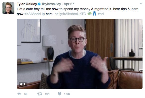Tyler Oakley Social Engagement 1.9k Likes 191 Retweets