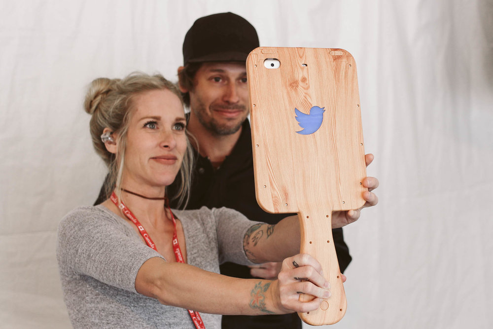 Walk Off The Earth takes pictures at our 'Twitter Mirror' activation.