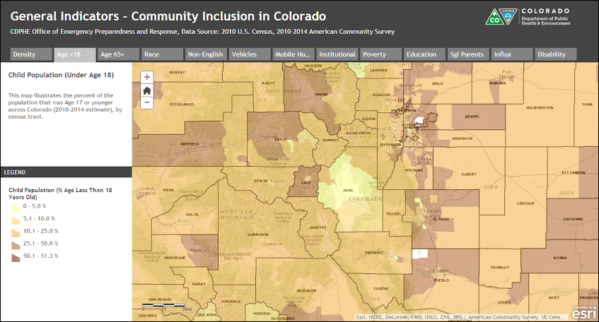 Community inclusion mapping is a useful tool for communities to use in determining vulnerable populations; addressing these populations is an important part of increasing resiliency.  This tool is available from the Colorado Department of Public Health and Environment.