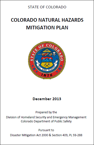 The Colorado Natural Hazards Mitigation Plan was a collaborative effort that identifies risks and vulnerabilities throughout the state and puts forth mitigation strategies.  It is a useful tool for informing local resiliency and other plans.
