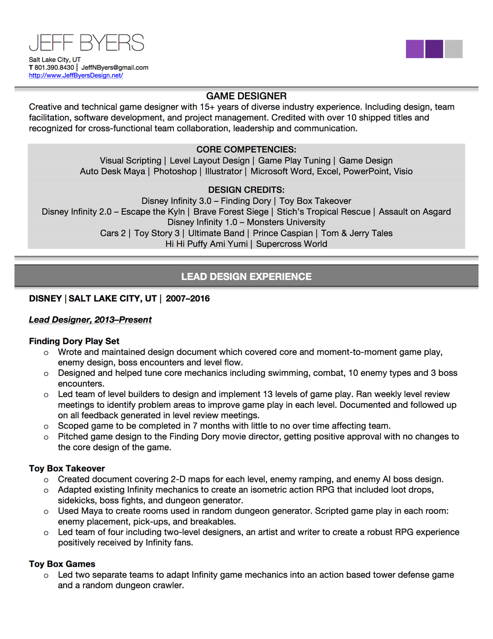 Jeffbyers_resume_p1   Game Designer Resume Regard To Game Design Resume