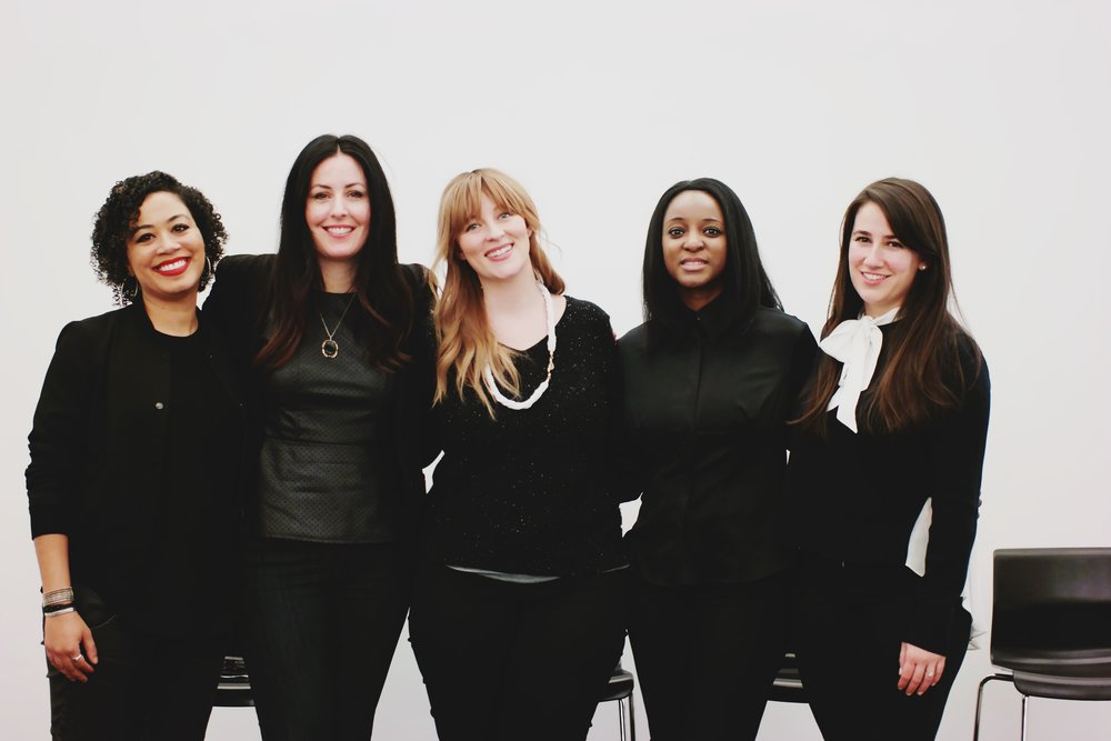 From left to right: Our moderator Marysharon Owens, and panelists Sarah Sheehan, Jenna Arnold, Danielle Kayembe, and Clara de Soto.