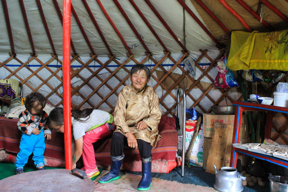 Local people are interviewed to understand context. This lady is in her eighties and built her yurt herself