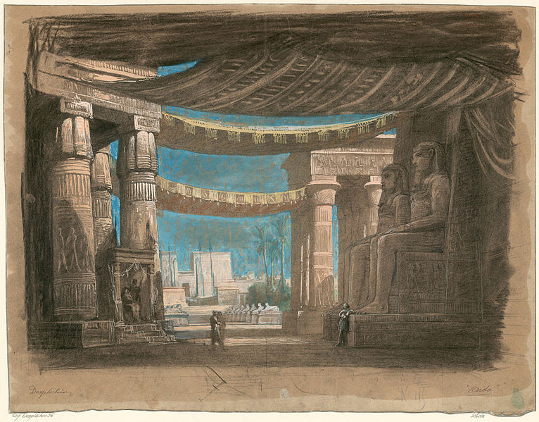 Sketches of Aida opera sets — inspiration for the design of Fidenza