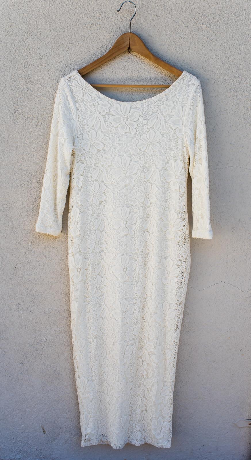White Lace Dress - Ingrid & IsabelSize M3/4 SleeveCalf/Long Length