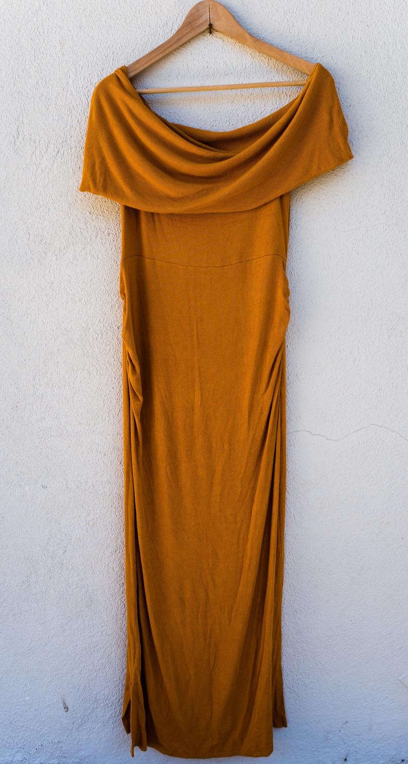 Solid Marigold Dress - Motherhood MaternitySize LOff the ShoulderFull Length