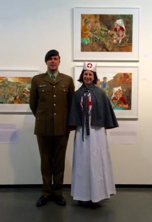 Matt in his army uniform and Shona in WW1 nurse's costume on the opening day at the NZ Academy of Fine Arts, April 2015.