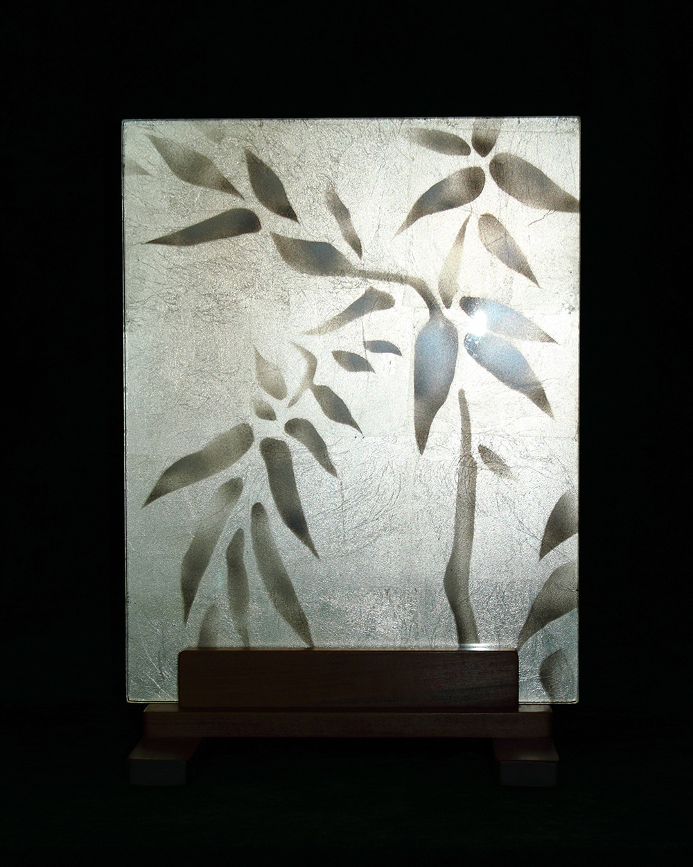 Bamboo Themed Glass Panel
