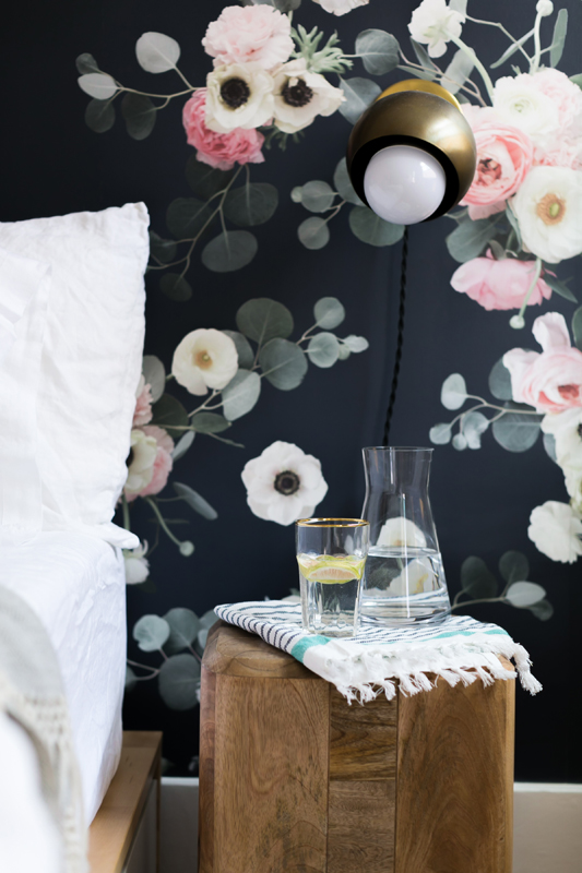 West Elm Feature! Midnight Floral Wallpaper in Monica Wang's Apartment