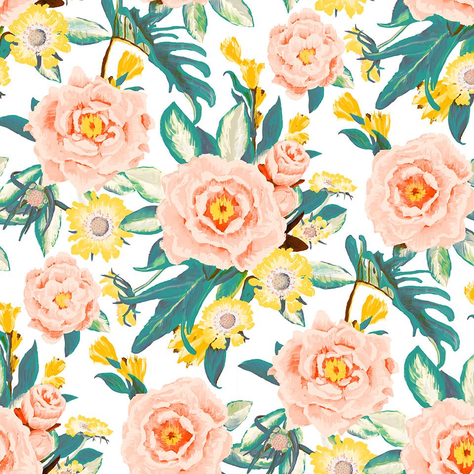 Posh Posy Fabric Wallpaper Peel And Stick Samantha Santana