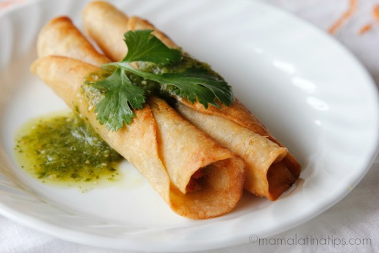 Chicken and Linguica Taquitos Dorados Recipe - #SoyParaSoy
