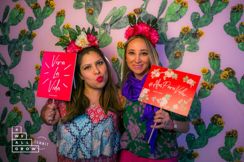 Samantha Santana also designed a beautiful backdrop for our photo booth with her custom, restickable wallpaper.