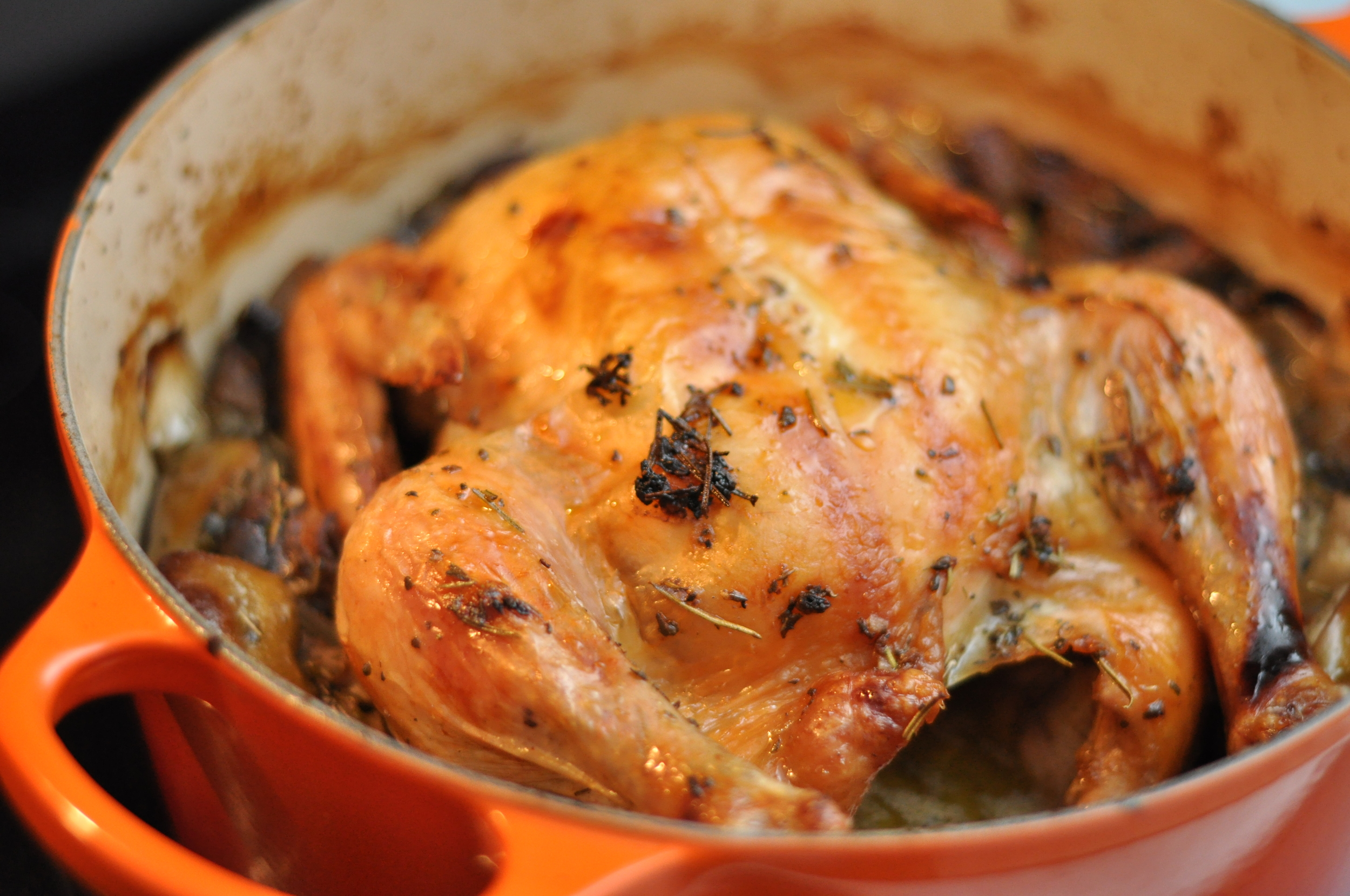 Roast Chicken with Apples, Onion, Mushrooms. Saltandtwine.wordpress.com