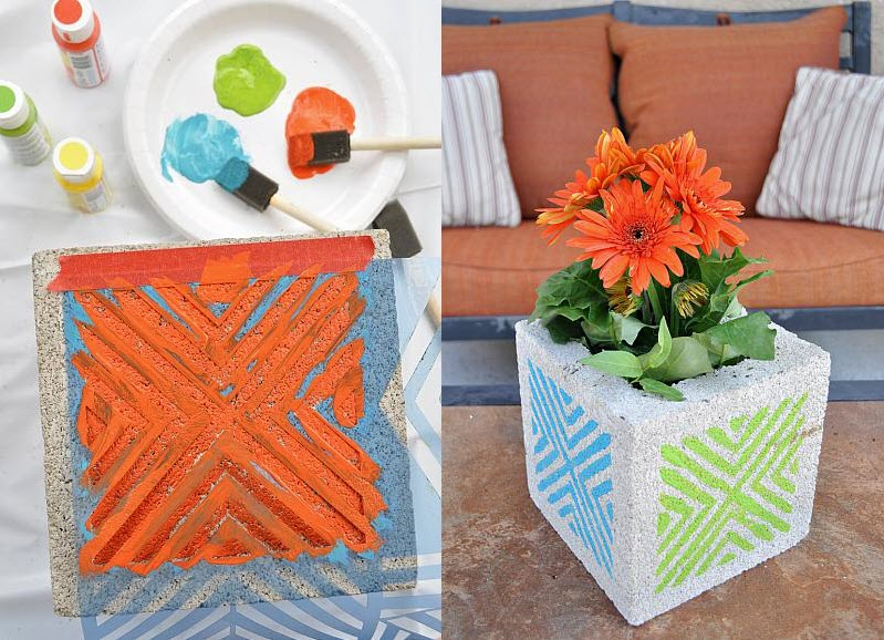 Fun Summer Projects - Cinderblock art