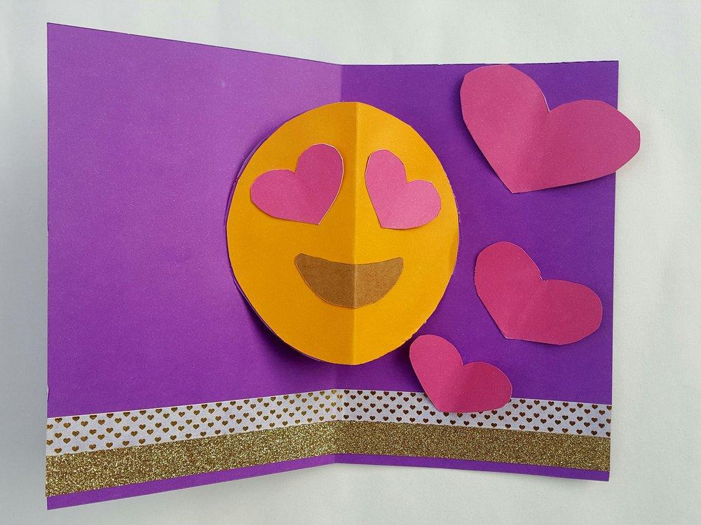 Cómo hacer tarjeta San Valentín pop-up emoji