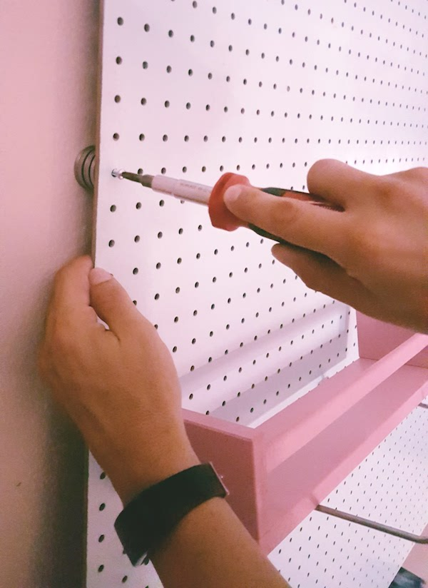 diy sewing room organizer peg board
