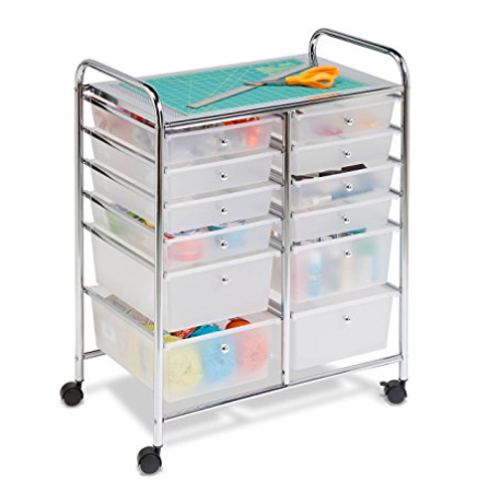 Sewing room organization rolling cart