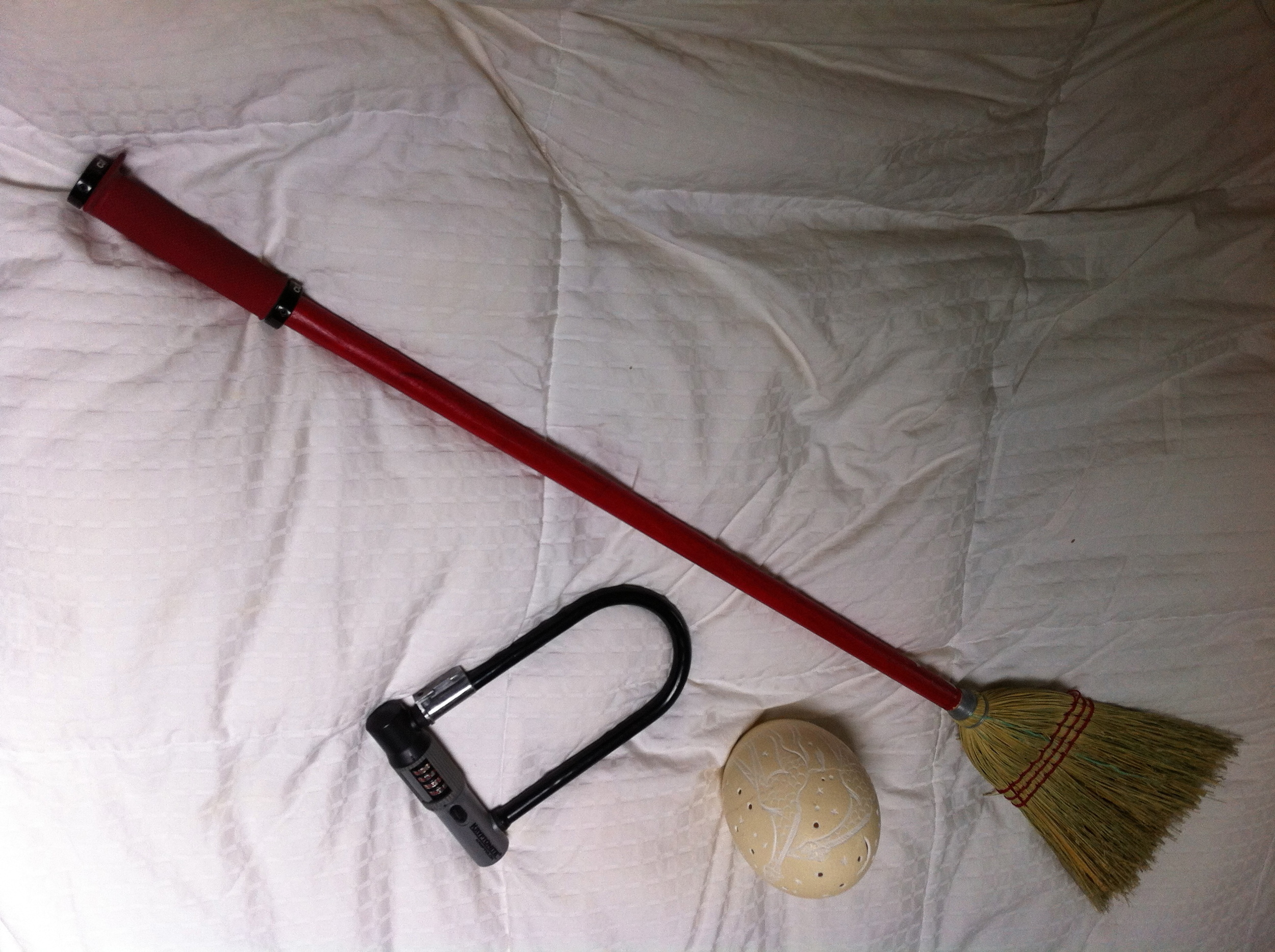 my new and improved broom, bike lock, and lantern