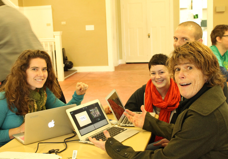 tiny housers Lina, Malissa, Chris, and Dee with tiny laptops